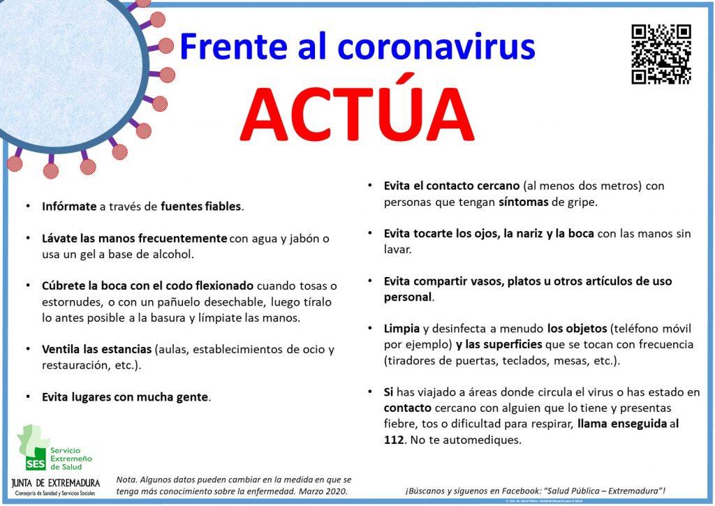 Frente al coronavirus ACTÚA